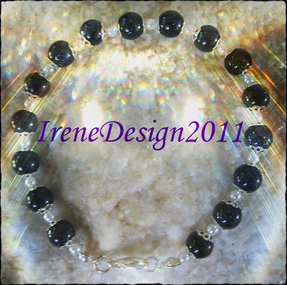 Beautiful Handmade Silver Bracelet with Blue Goldstone & White Pearl by IreneDesign2011