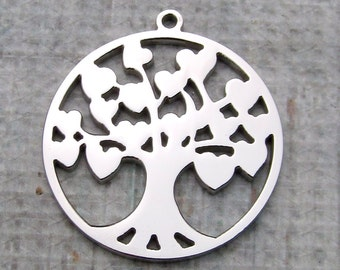 Tree of Life Pendant, Stainless Steel Stampable Heart Tree Pendant 30x34x2mm Large Tree Charm Family Tree Pendant Tree of Life (123)