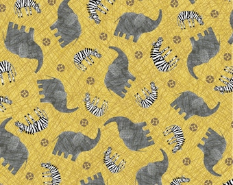 Per Yard, Elephants and Zebra Fabric By Quilting Treasures