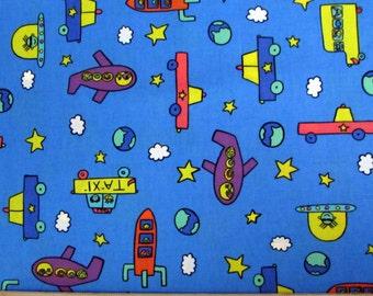 Per Yard, Cars, Rocket, Airplane Fabric
