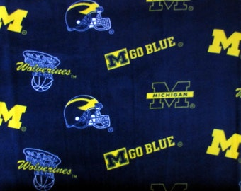 FLEECE Michigan Wolverines Fabric From Sykel By the Yard