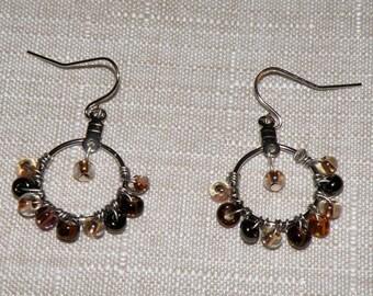 Brown and Amber Beaded Silver Hoop Earrings