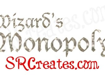 Wizard's Monopoly Decals in Gold Glitter