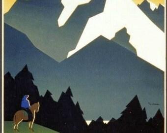 "11 x 14""  canvas art print~  See America, Welcome to Montana"