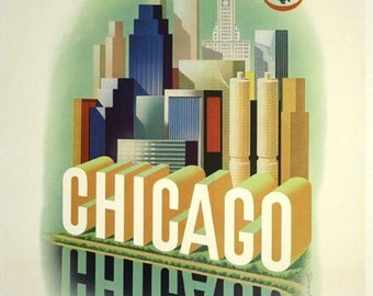 "Chicago-American Airlines-vintage-travel-poster 11 X 14""  canvas art print"