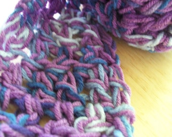 Scarf 7 - purple with blue variegated scarf