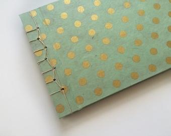 Stab Bound Mint & Gold Journal // Notebook // Guestbook // Sketchbook