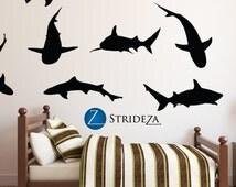 Shark silhouette 9 piece set, Shark decor, shark decal, shark decorations, shark