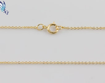 Flat Cable Chain 1.1mm Gold Filled with Spring Ring Clasp, Dainty, Layering, Layered, Delicate, Necklace for Charm, 1132F, GFCN005