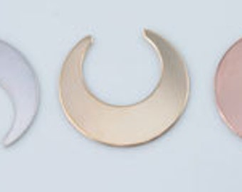 Large Crescent Moon Stamping Blank, Silver, Gold Filled or Rose Gold Filled Stamping Supplies, Moon Stamping Blanks, Jewelry Supply CM112DR
