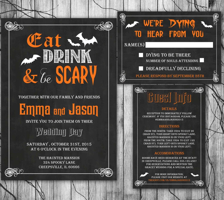 halloween wedding invitation set eat drink be scary With scary halloween wedding invitations