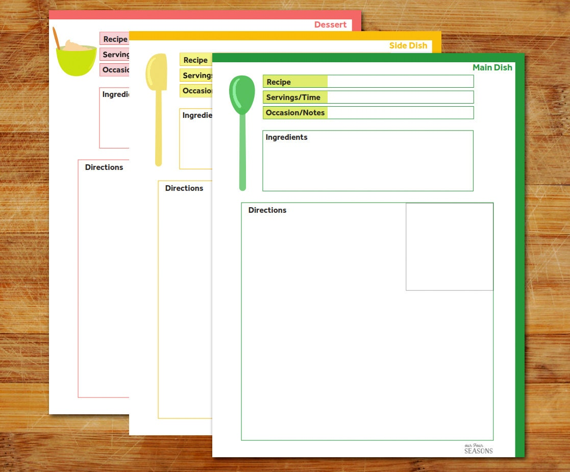 Recipe page recipe template main dish recipe side dish for Full page recipe template for word