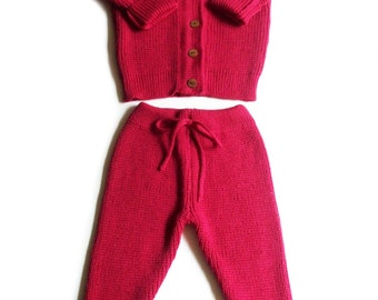 Babies/Children's/Toddlers merino wool round neck Cardigan and pants set/outfit/trousers/leggings/coat cardigan