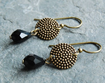 Victorian Nailhead Jet Earrings