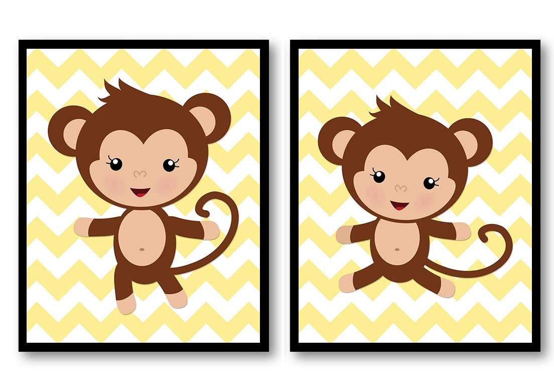Monkey Nursery Art Yellow Nursery Print Set of 2 Brown Monkeys ...