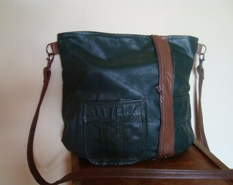 green leather handbag/ recycled leather