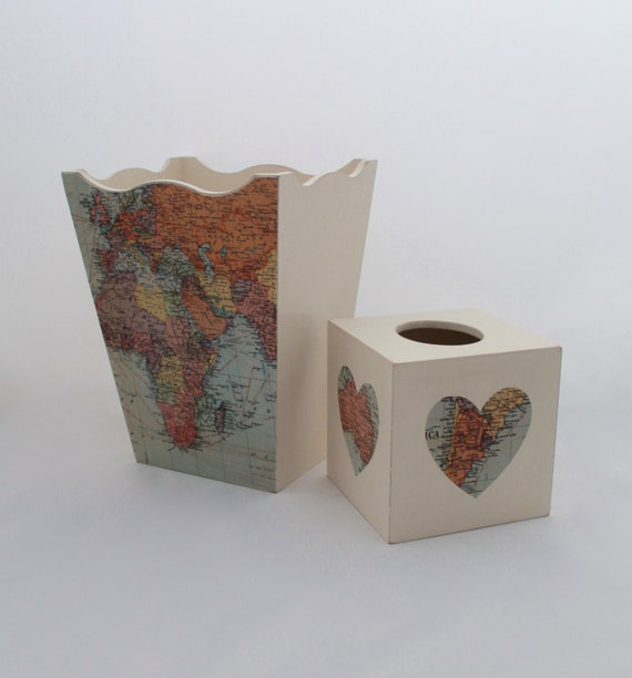 Map Waste Basket Cream With World Map Atlas By