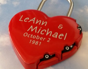 Heart Shaped Combination Padlock, LOVE LOCK,  ENGRAVED Padlock, Personalized, Wedding