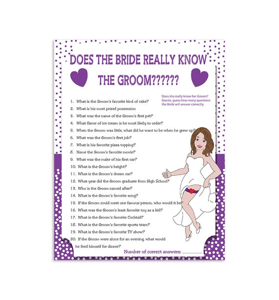 Printable Wedding Shower Game How Well Does The By