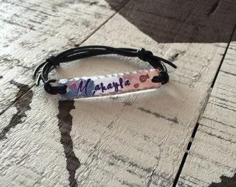 Name Personalized Adjustable Bracelet Hand Stamped Name Bracelets-Sports Bracelet