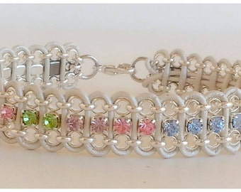 "Metallic Pearl leather and Swarovski Crystal Bracelet"""