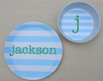 Petite Personalized Melamine Plate + Bowl Set ~ Stripes