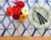 Indigo Shibori table runner / table runner / linen table runner / hand-dyed indigo / natural indigo / Thanksgiving  Home decor /linen runner