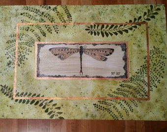 2' x 3' handpainted floorcloth - Dragonfly and ferns framed with copper leaf border