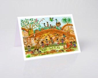 Greeting card, Australian Corroboree, Jenny Laidlaw cards, aboriginal, Australia