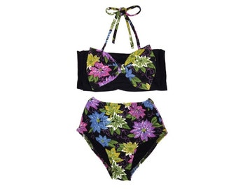 Retro Style Vintage Floral Print Bow Top & High Waist Bikini! Kids Swimwear!