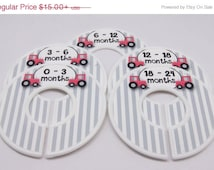 ON SALE Custom Baby Closet Dividers Gray Nursery, Red Tractor, Farm Nursery Baby Shower Gift Closet Organizer FINISHED Product Cd246