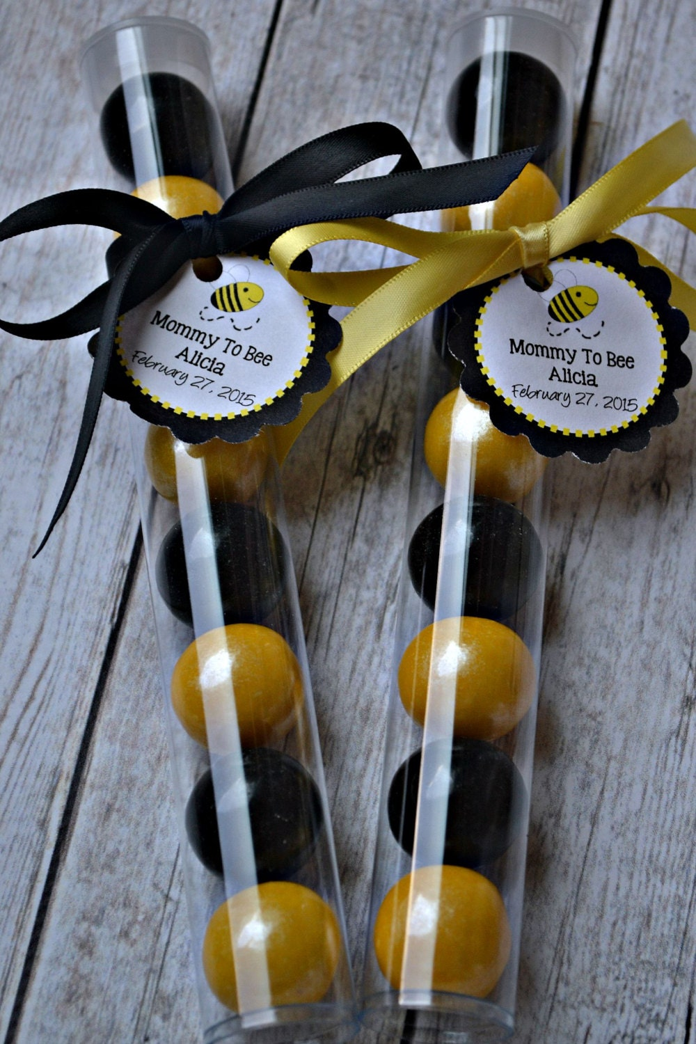Bumble Bee Black And Yellow Gumball Tube Favors Bumblebee