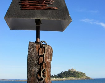 Table lamp, salvaged shipwreck wood (Oak) lamp with chain and shade