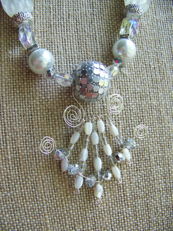 Bridal Necklace Set, White Winter Wedding Accessories, White Beaded Pendant Necklace,  #68