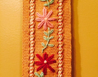 Floral Crewel Wall Hanging with Pocket