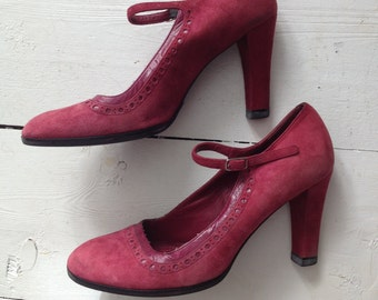 Marc Jacobs Vtg Raspberry Suede Mary Jane Heels
