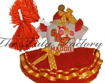 CALIFORNIA Cheerleader Tutu Set . Red Gold Tutu . Custom Colors Available . Infant thru Size 10