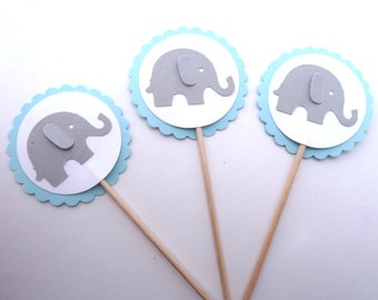 24 Baby Elephant Cupcake Toppers, Boy Newborn, Blue Baby Shower Toothpick Cupcake Toppers, Food Picks, Ships in 3-5 Business Days