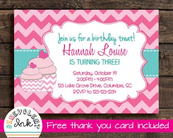 Cupcake First Birthday Invitation - Printable Birthday Party Invite - Chevron Cupcake Invitation - Cupcake Theme 1st Birthday Party