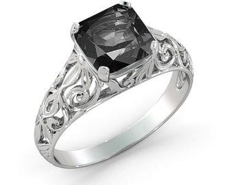 1.00 CT Natural Vintage Black Diamond Filigree Engagement Ring 14k White Gold Large Black Diamond Ring