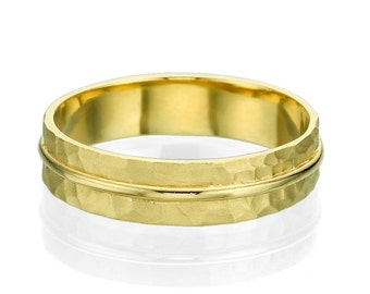 Hammered 14k Yellow Gold 3.8mm Men's Wedding Band