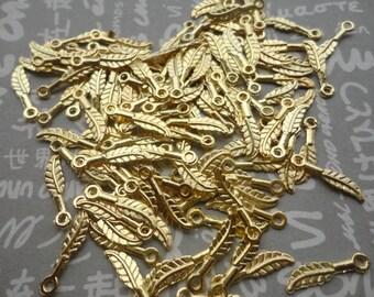 100pcs gold color metal leaf charm , metal leaf pendant , 16X3mm , CP910