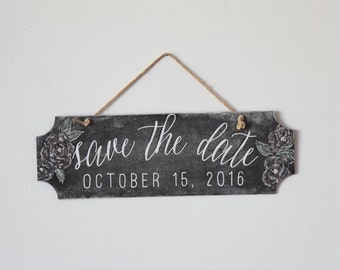 """Handwritten Chalkboard Sign for Wedding & Engagement - """"Save The Date"""""""