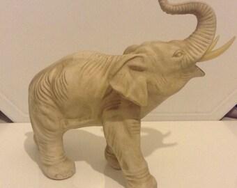 Vintage Bisque Elephant Figurine With Imiatation Ivory Trusks