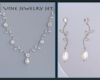 Crystal Bridal Set, Pearl and Crystal Vine Necklace and Earrings Set, Wedding Jewelry, Bridal Jewelry