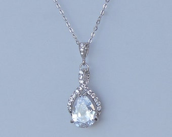 Teardrop Crystal Bridal Necklace, Wedding Necklace, Bridal Jewelry, Bridesmaids Jewelry, RIBBON