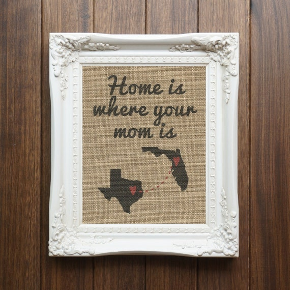 Personalized Home Is Where Your Mom Is Burlap Home Decor Gift
