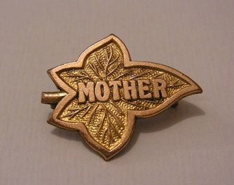 FREE SHIPPING Vintage Mother Brooch Vintage Maple Leaf Mother Brooch Estate Jewellery Gold Coloured vintage Mother Brooch Mothers Day Gift