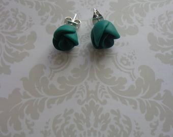 Green rose earrings.
