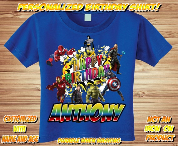 Avenger & Super Hero Birthday Personalized T Shirt ~  Comic, marvel, avengers, captain america, iron man, hulk, spiderman, batman